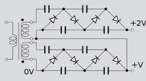voltage multiplier a second cascade stacked onto the first one driven by a high voltage isolated second secondary winding the second winding is connected 180° phase