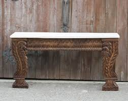 painted console table. Lustrous Peacock Carved Console Table, Painted Console, Reconstructed Indian Table
