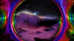 colorful e trippy psychedelic mountain snow