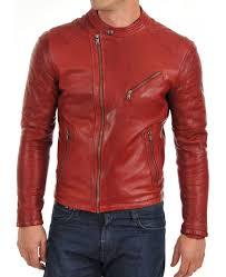 men s asymmetrical zipper style red leather motorcycle jacket