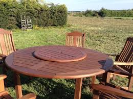 large round solid wood garden table 6 chairs