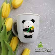 <b>Мишка</b> панда, на кружке. Декор из запекаемой полимерной глины.