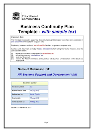 Release Plan Template Mesmerizing Simple Business Continuity Plan Template Free Example Templates R