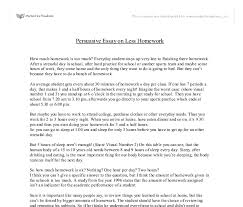 persuasive essay on less homework university education and  document image preview