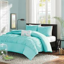 Teal Bedroom Decor Twin Twin Xl Mint Blue Light Teal Ruched Fabric Comforter Set
