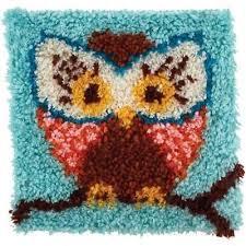 hoot owl latch hook rug 20cm x 20cm wonderart 426112