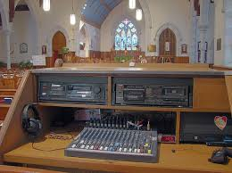 sound system for church. when the original installation was done, a smaller, more modest mixer desk installed. church member who recording engineer built new sound system for