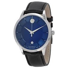 movado 1881 automatic blue dial black leather band men s watch movado 1881 automatic blue dial black leather band men s watch 0606874