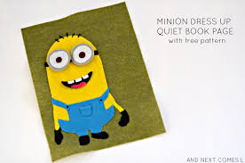 minion dress up quiet book page with free printable pattern from and next es l