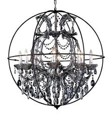 smoke crystal chandelier with dark bronze cage of restoration hardware orb