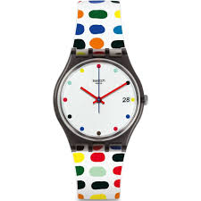 mens watches swatch gm417 milkolor black multi coloured silicone watch