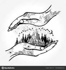 Ruce A Hory Tetování A Tričko Design Symbol Cesty Stock Vektor