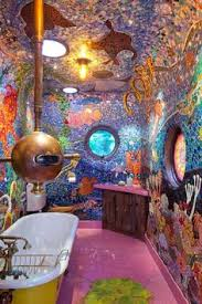 Yellow submarine bathroom. This would be awesome for a kids bathroom. if I  ever have a big enough house that the kids get their own bathroom!