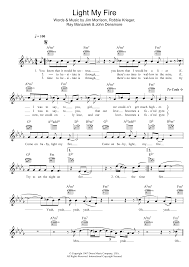 Light My Fire Organ Tab Sheet Music Digital Files To Print Licensed The Doors