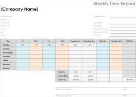 Weekly Time Record Time Card Template Easily Organize Employees Timings