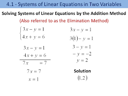 8 solution 4 1 systems of linear equations in two variables solving systems of linear equations by the addition method also referred to as the