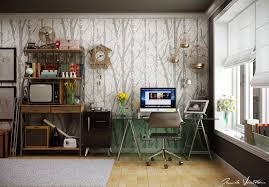 Idea decorating office Cubicle Home Office Wall Tree Pattern Homedit Home Office Decor Ideas To Revamp And Rejuvenate Your Workspace