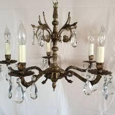 antique vintage brass crystal chandelier made in spain 1930s