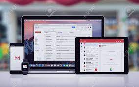 Google Gmail On The Apple IPhone 7 IPad Pro Apple Watch And Macbook Pro  Stock Photo, Picture And Royalty Free Image. Image 79688648.