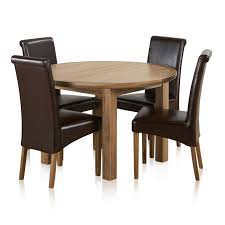 knightsbridge natural solid oak 4ft round extending table with 4 scroll back brown leather chairs delivery