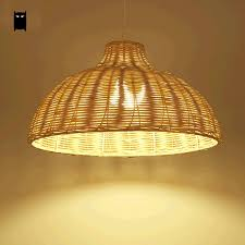 round natural wicker pendant light fixture asia anese rustic primitive hanging lamp luminaria indoor home dining