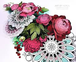 Peony Flowers With Ornament Tattoo Sketch Mandala On Behance