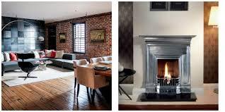 interior design and a cast iron fireplace