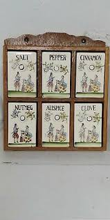 Herb And Spice Wall Chart Vintage Three Mountaineers Wall Herb Spice Rack W Chart