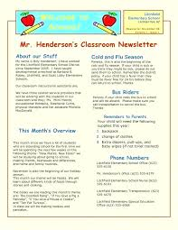 School Newsletter Template For Word Grade Newsletter Template Unique Doc Fresh Elementary Classroom Free T
