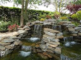 Lawn & Garden:Backyard Waterfall Designs for Something Good and Special  Fascinating Garden Stone Waterfall