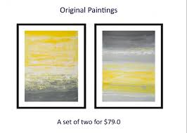 set of two original painting abstract diptych painting yellow gray white painting on paper wall art wall decor home decor by qiqigalleryabstract paintings