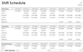 Employee Shift Schedule Mpla Excel Restaurant Work Monthly