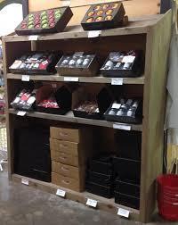 ... Rustic wood farm market produce shelving display slanted shelves grocer  ...