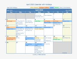 April 2020 Printable Calendar With Us Holidays Including August