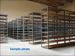 gray rapid rack shelving with wood shelves