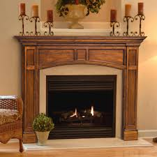 classic wood fireplace surrounds be equipped with some iron candle pot and big ceramic vase