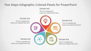 Infographic For Powerpoint Five Steps Infographic Colored Petals Free Powerpoint Diagram