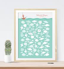 photo guest sign in book wedding guest book alternative print nautical beach wedding fish