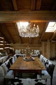 rustic dining at its finest wooden table and cowhide chair seating