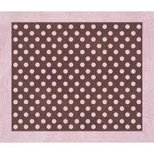 sweet jojo designs pink and brown mini polka dot cotton floor rug