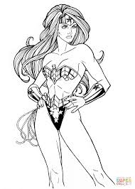 Small Picture Wonder Woman from DC Comics coloring page Free Printable