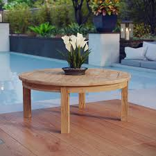 marina outdoor patio teak round coffee table by modway