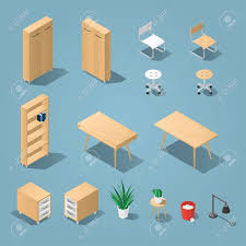 isometric office furniture vector collection. Isometric Light Brown Office Furniture Set. Collection Includes Tables, Shelves, Bureau, Cabinet Vector D