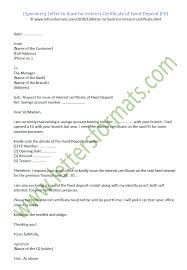 Letter To Bank For Interest Certificate Of The Fixed Deposit