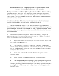 independent contractor agreement between an owner operator truck driver contract agreement