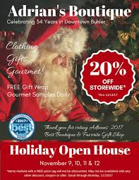 christmas open house flyer november 2017 adrians boutique