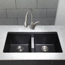 Composite Granite Kitchen Sinks Kraus Kgu 434b 33 Inch Undermount 50 50 Double Bowl Black Onyx
