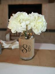 ... Burlap And Lace Covered Mason Jars Monogram Burlap Mason Jar Sleeve  Wedding Table Decoration Set Of ...