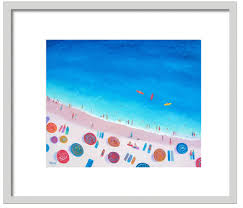 a framing beach paintings example painting with colorlful umbrellas in a narrow white frame with