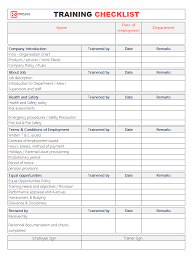 check list example employee training checklist template for excel word